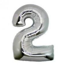 2 Rakam Folyo Balon 40 İnç Gümüş
