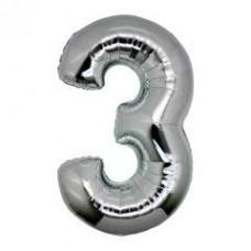 3 Rakam Folyo Balon 32 İnç Gümüş