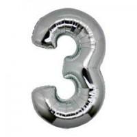 3 Rakam Folyo Balon 40 İnç Gümüş