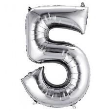 5 Rakam Folyo Balon 32 İnç Gümüş