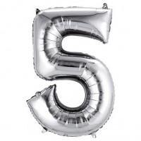 5 Rakam Folyo Balon 40 İnç Gümüş