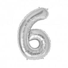 6 Rakam Folyo Balon 32 İnç Gümüş