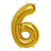 6 Rakam Folyo Balon 40 İnç Altın