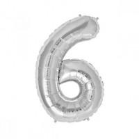 6 Rakam Folyo Balon 40 İnç Gümüş