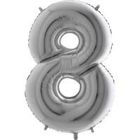 8 Rakam Folyo Balon 40 İnç Gümüş