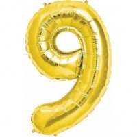 9 Rakam Folyo Balon 40 İnç Altın