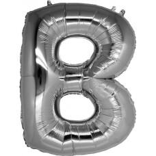 B Harfi Folyo Balon 32 İnç Gümüş