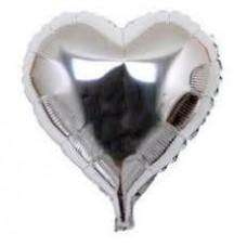Kalp Folyo Balon Gümüş 18 İnç 45 Cm