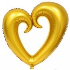 Kalp İçi Boş Folyo Balon Altın 100 Cm