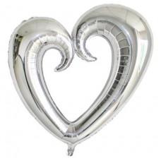 Kalp İçi Boş Folyo Balon Gümüş 100 Cm