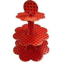 Kırmızı Siyah Puantiyeli Kapkek Standı