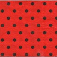 Kırmızı Siyah Puantiyeli Peçete 33x33 Cm 20Li
