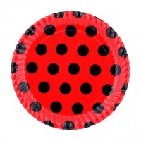 Kırmızı Siyah Puantiyeli Tabak 23 Cm 8 Li