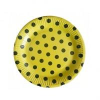 Sarı Siyah Puantiyeli Tabak