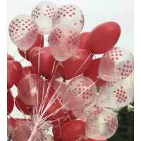 Şeffaf Balon Kalp Baskili Balon 20 Adet