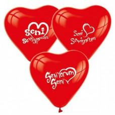 kalpli seni seviyorum yazılı balon 12 inç 5 adet