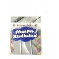 Happy Birthday Yazılı Mum Mavi