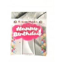 Happy Birthday Yazılı Mum Pembe