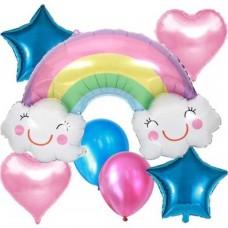 Gök Kuşağı Bulutlu 5 Li Folyo Balon