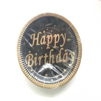 Happy Birthday Siyah Üzeri Altın Tabak 8 adet