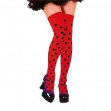 Kırmızı Siyah Puantiyeli Çorap