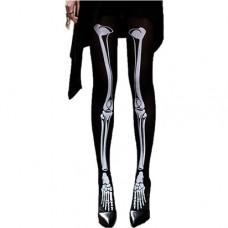 Siyah Üstü Beyaz iskelet Desenli Çorap