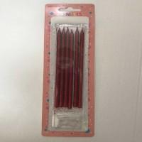 Uzun Mum Kırmızı Simli 6 Lı 14 Cm