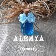 Cam Şişe Nikah Bebek Şekeri Mavi Kurdele Süslemeli